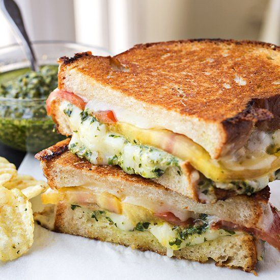 Tomato & Pesto Grilled Cheese with Melted Provolone & Mozzarella Cheeses.