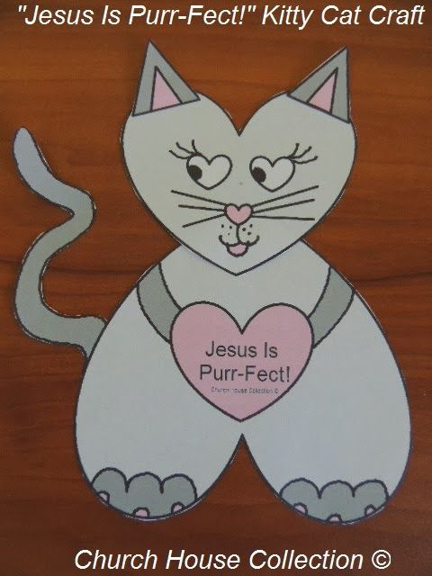 kitty cat craft template cutout sheet for valentines day sunday school or childrens church - Valentine Sunday School Lesson