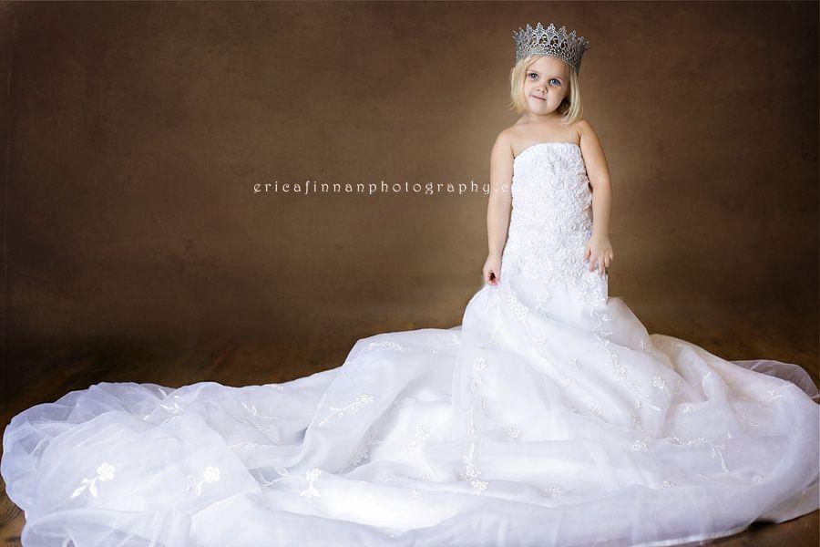 3 year old wearing moms wedding dress in galion ohio studio ...