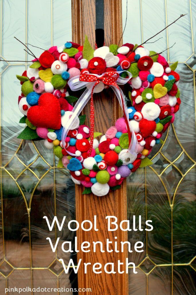 Felted Wool Balls Valentine Wreath