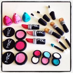 24 X Edible Fondant Makeup Cupcake Toppers By Madaboutcaketoppers