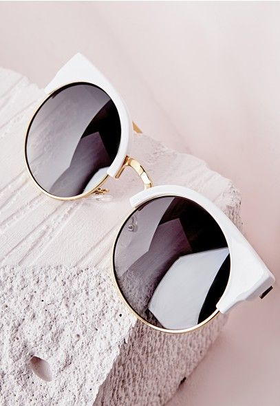 Half Frame Sunglasses White - Accessories - Sunglasses - Missguided