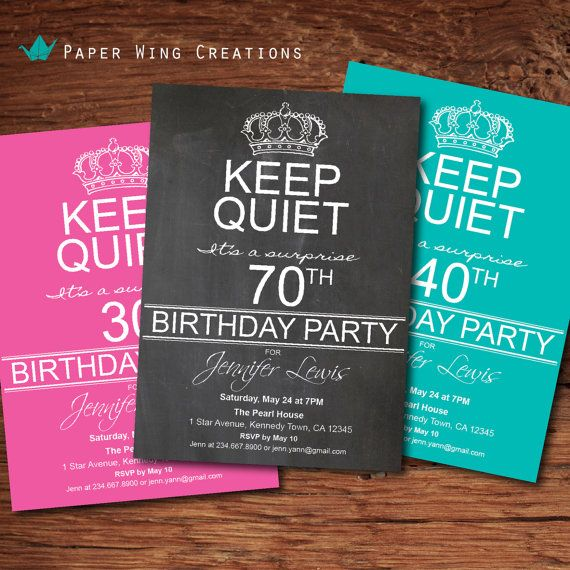 Adult Surprise 70th Birthday Party Invitation. 80th ...