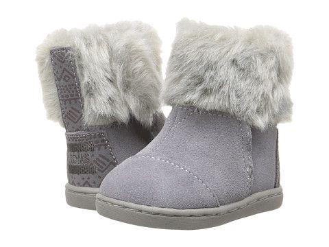 5d4d3c376b6 TOMS Kids Nepal Boot (Infant/Toddler/Little Kid) Gray Suede/Faux Fur ...