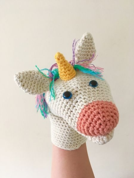 Allcrochetpatterns.net has the biggest collection of Crochet patterns. Click and discover Uli the Unicorn Hand Puppet! #handpuppets