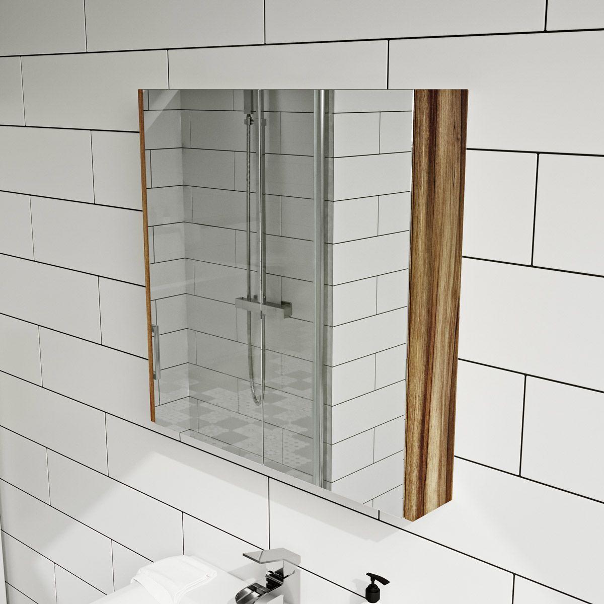 Clarity Walnut 2 Door Bathroom Mirror Cabinet Victoriaplum Com Mirror Cabinets White Mirror Bathroom Mirror Cabinet
