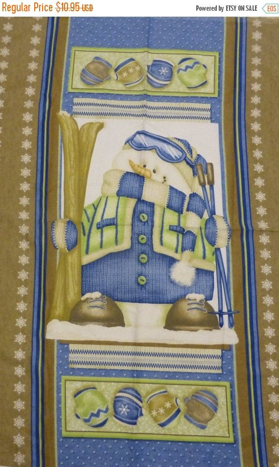 """50% OFF SALE - Flannel Panel, """"Snow Much Fun"""" by Shelly Comiskey for Henry Glass Fabrics, Fast Shipping, P118"""