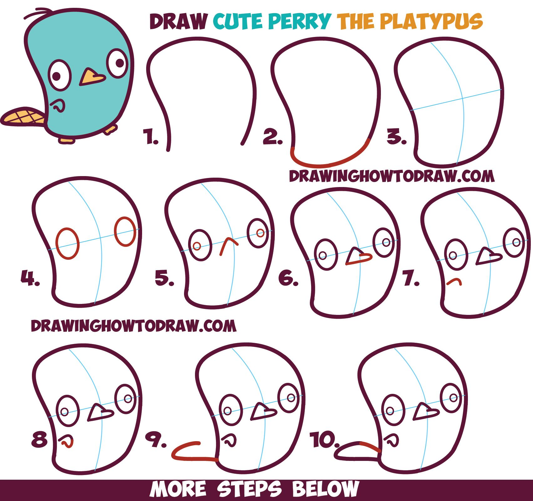 How To Draw Cute Kawaii / Chibi Perry The Platypus From