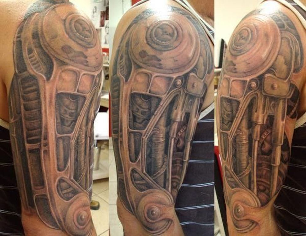 Biomechanical Sleeve Tattoos Biomechanical Tattoo Mechanic Tattoo Tattoos For Guys