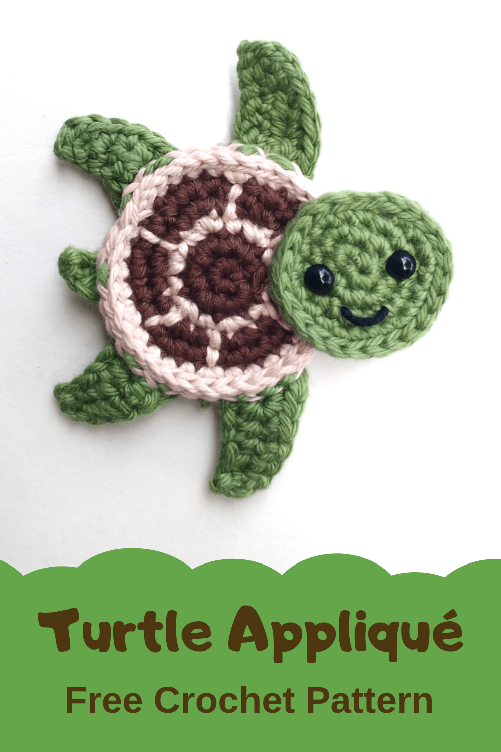 Free Crochet Pattern Sea Turtles Appliques #crochetapplique