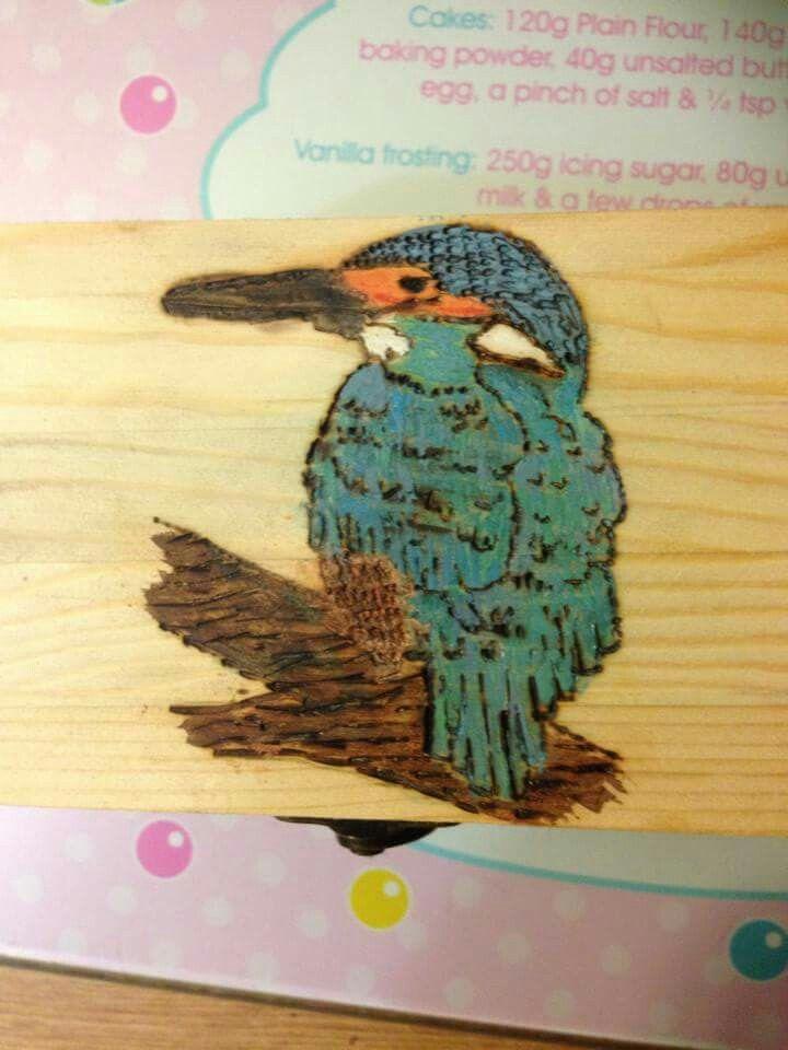 Kingfisher pyrography paint box gift