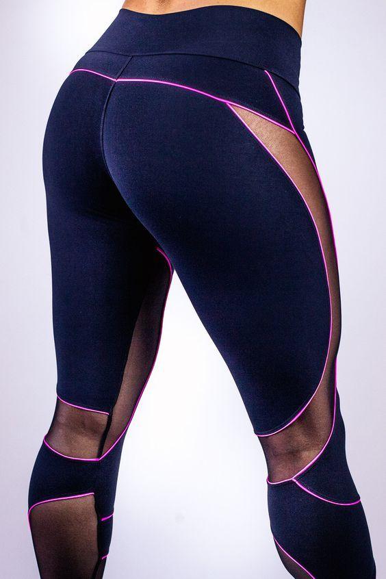 Indigo Yoga Pants W Magenta Trim Sheer Panels Like The Sweeping