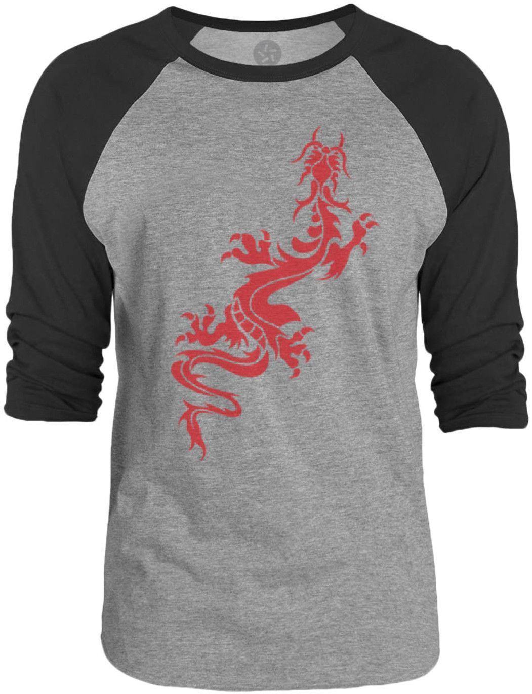 Big Texas Dragon Stencil (Red) 3/4-Sleeve Raglan Baseball T-Shirt