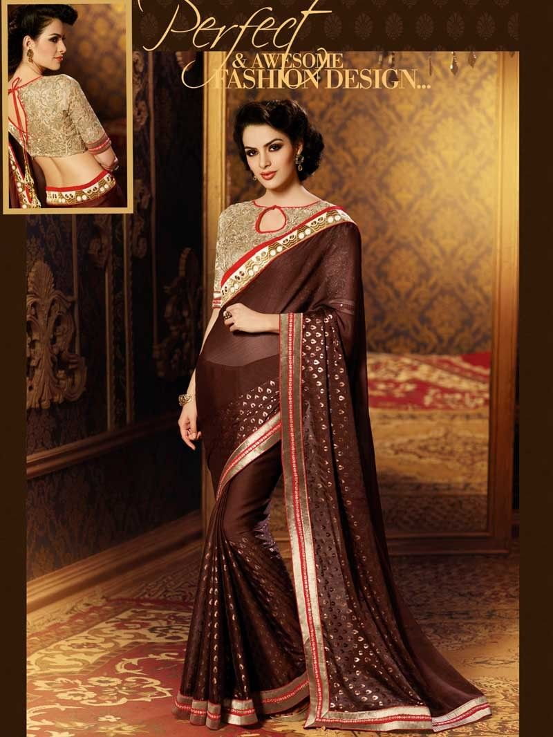 Golden saree blouse design brown color designer embroidered saree blouse sb  designer