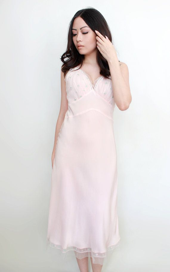 cafbc4f49 Vintage Lingerie 1950s Pastel Pink Slip Negligee Nightgown by Aristocraft  Boudoir Retro Pin Up Style