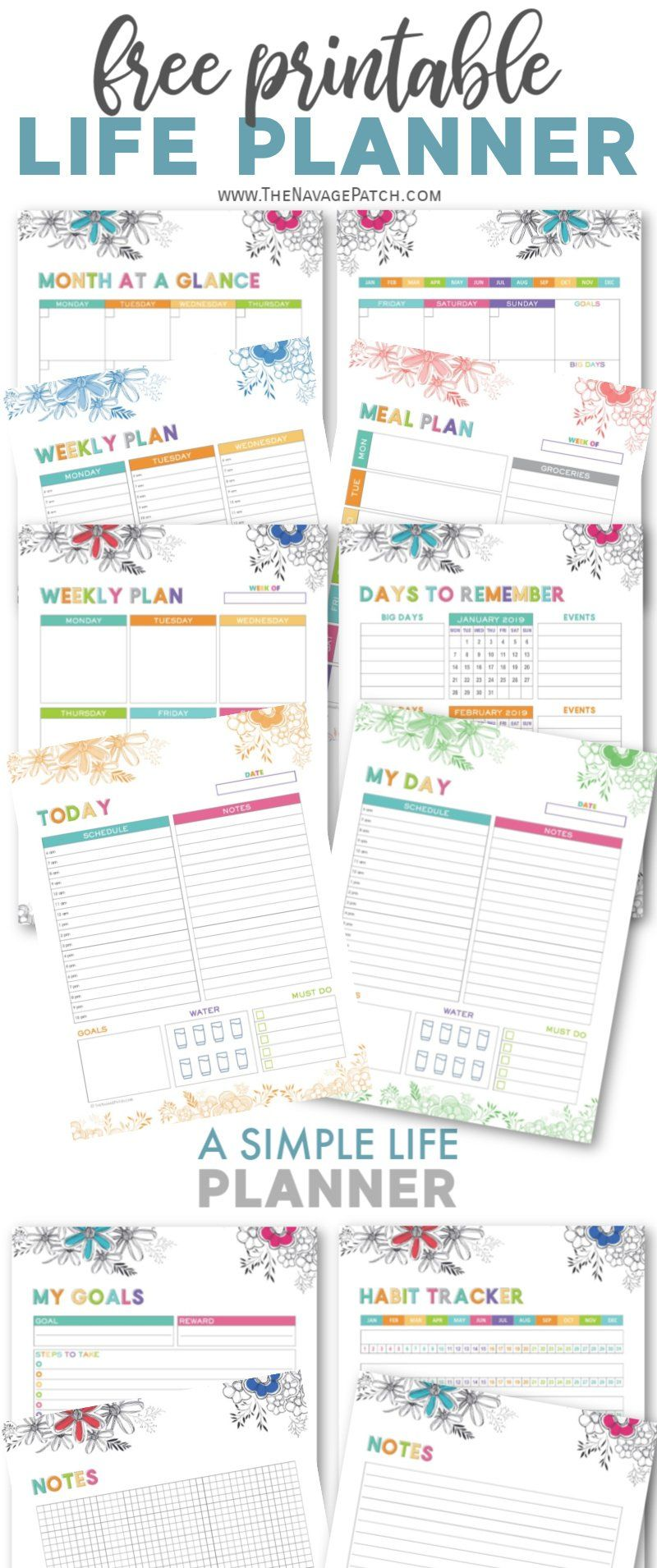 picture regarding Printable Life Planner named A Easy Lifestyle Planner Totally free Printables - The Navage Patch