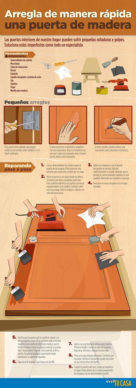 Como Restaurar Una Puerta De Madera Infografia Con Imagenes