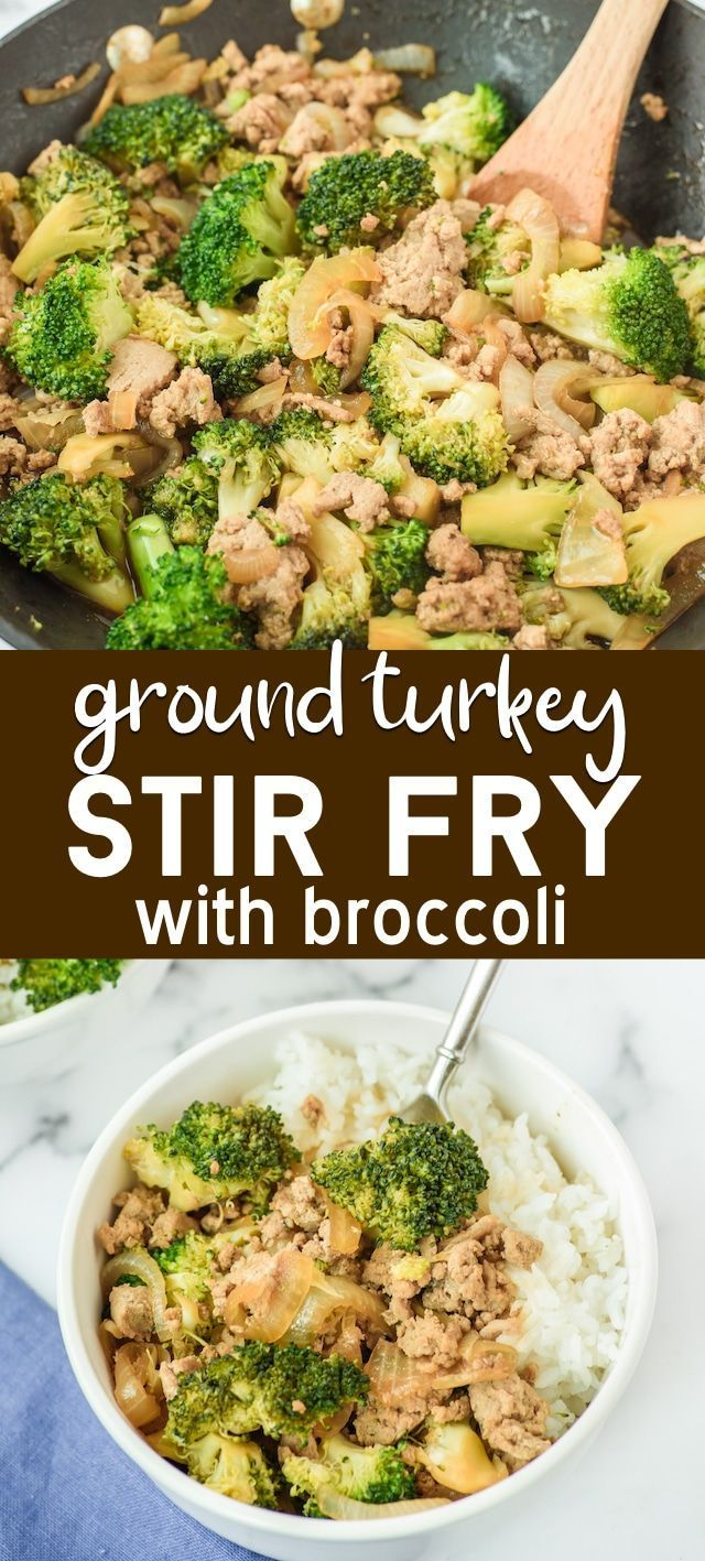 Ground Turkey Stir Fry with broccoli
