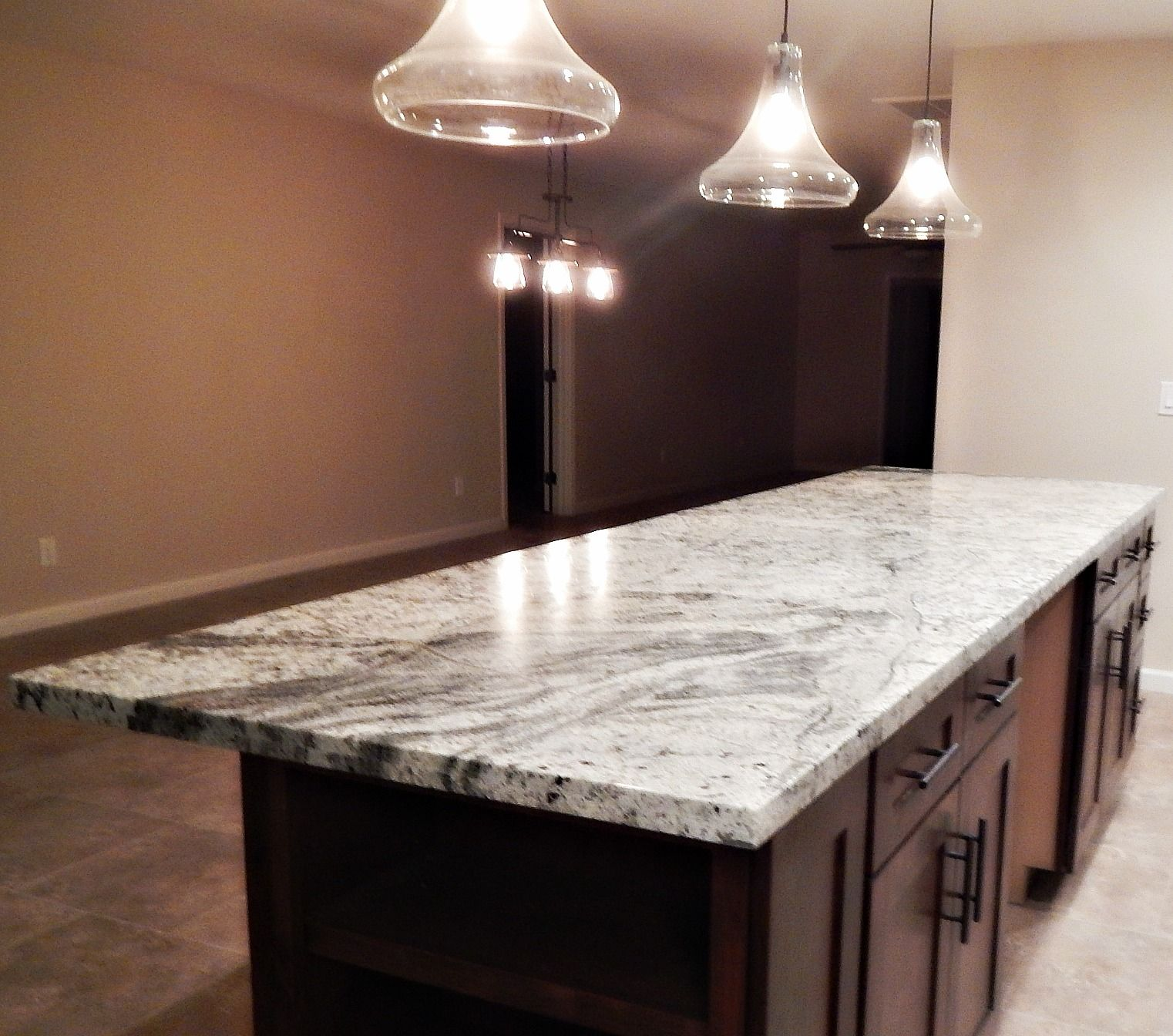 Kitchen Island Remodel With Bianco Antico Granite And Flat Polish