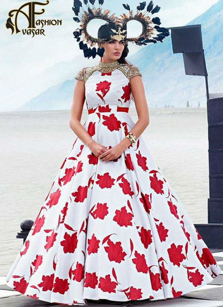 Silk White Evening Gowns Online India | avasarfashion.com ...