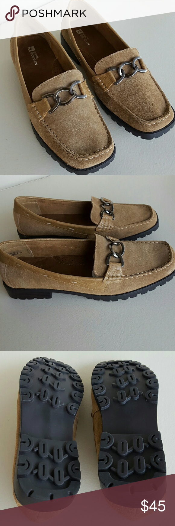 3f1d7d8710dc1c New White Mountain Loafers NWOT White Mountain Mercedes Tan Leather Suede  Silver Hardware No trades Please White Mountain Shoes Flats   Loafers
