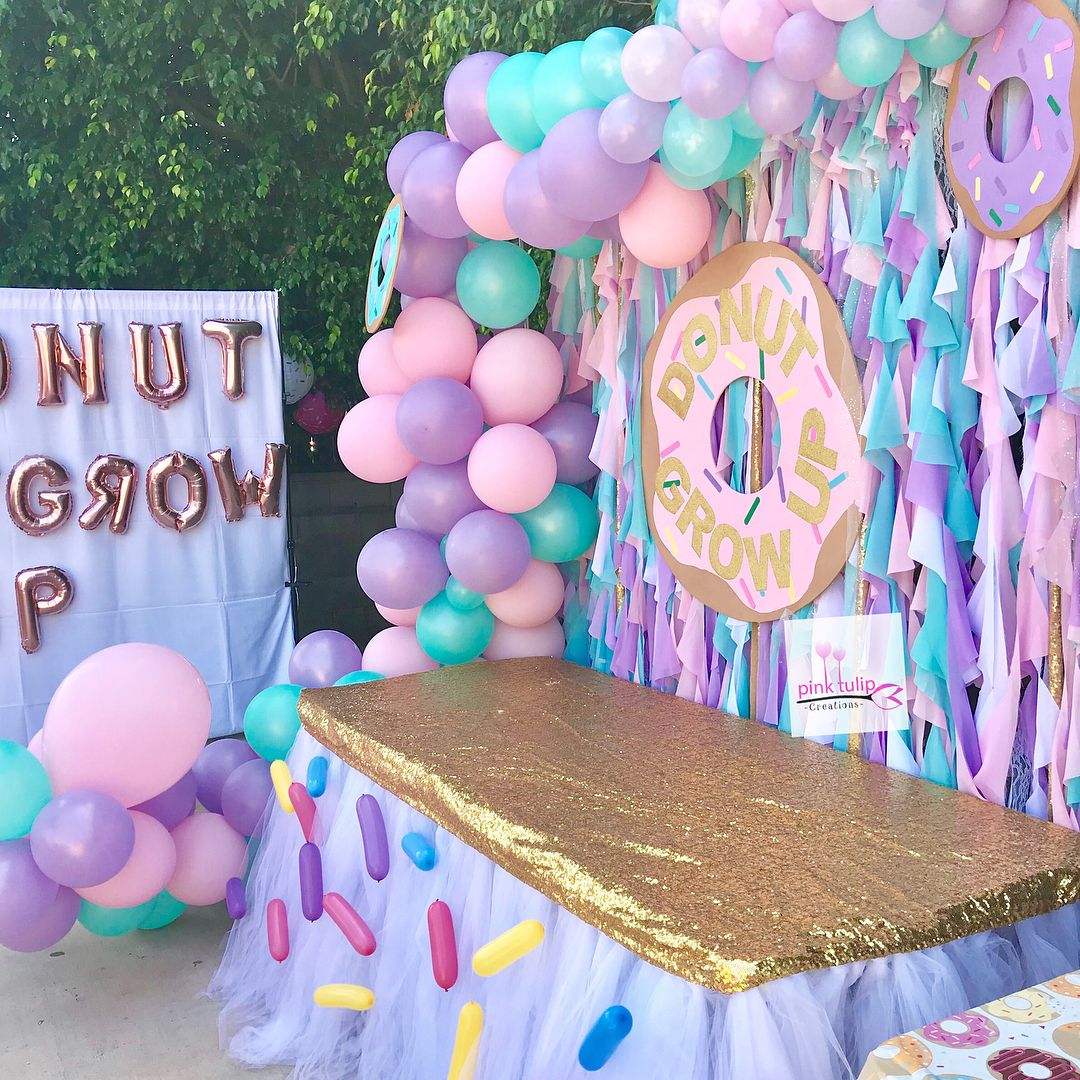 Donut Grow Up Candy Table Setup Desserts Provided By Customer Sprinkles Tutu T 2nd Birthday Party Themes Donut Themed Birthday Party Donut Birthday Parties