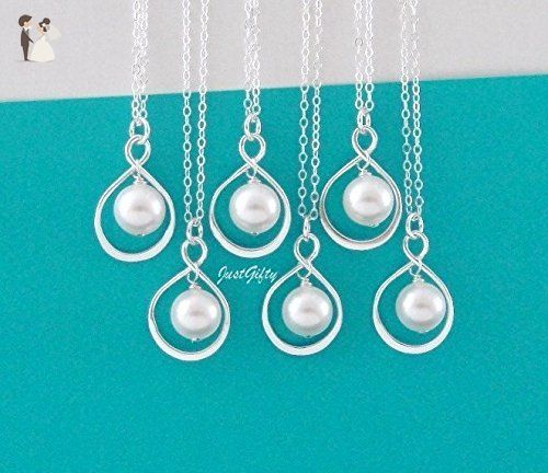 SET OF 6 Six Infinity Pendant Pearl Necklace - Small Silver Infinity Necklace - Forever Friendship - Flower Girl - Bridesmaid Gifts - Wedding nacklaces (*Amazon Partner-Link)