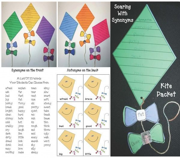 Soaring With Synonyms Kite Craftivity Graphic Organizers Spring Teaching Ideas Classroom Freebies