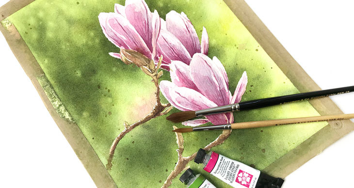 How To Paint Watercolor Magnolia Flowers Watercoloraffair Com Watercolor Watercolour Magnoliaflowe Watercolor Flowers Paintings Flower Painting Flower Art