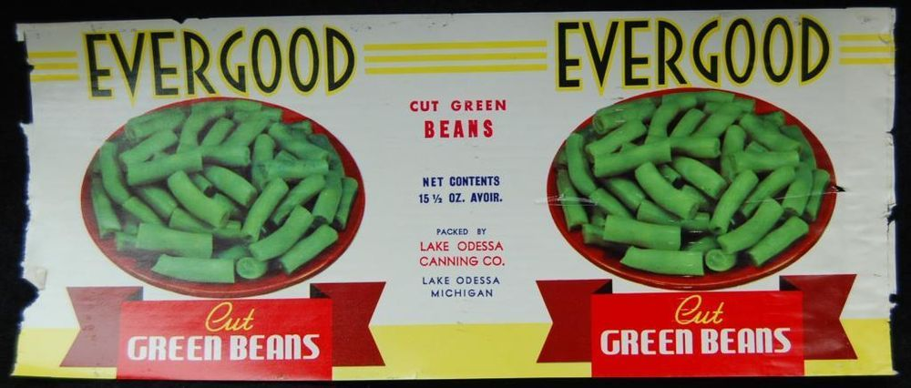 1960s EVERGOOD Green Beans Can Label - VINTAGE - Lake Odessa