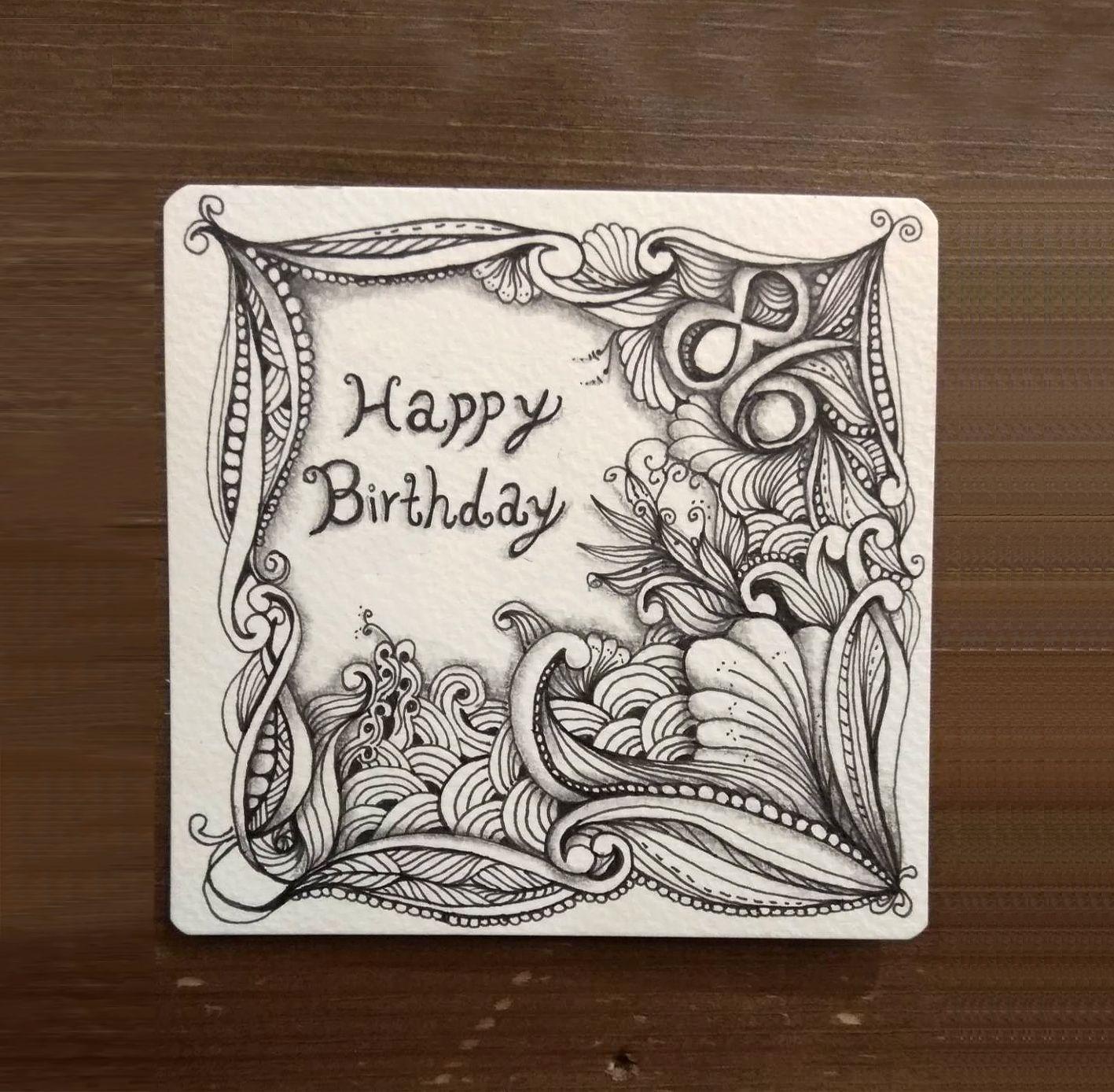 HAPPY BIRTHDAY card zentangle ART  Zentangle artwork, Zentangle