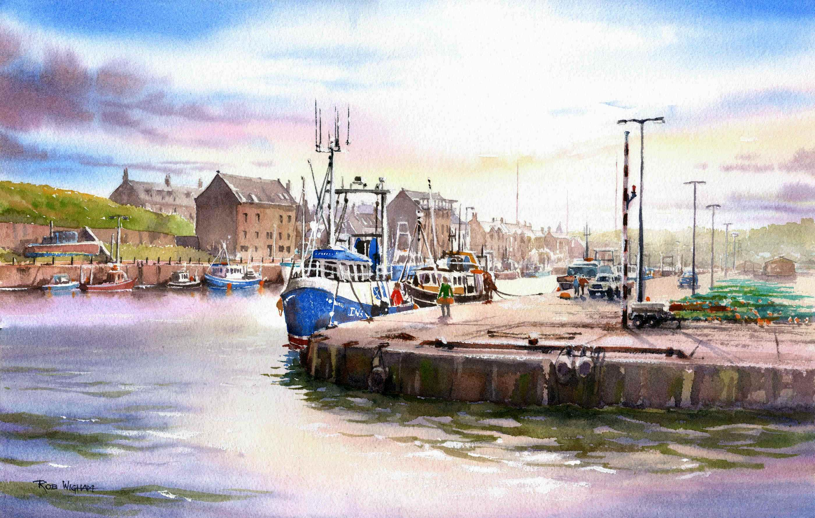 Burghead Harbour From The Sea Watt Watercolour 52 X 34 Cm
