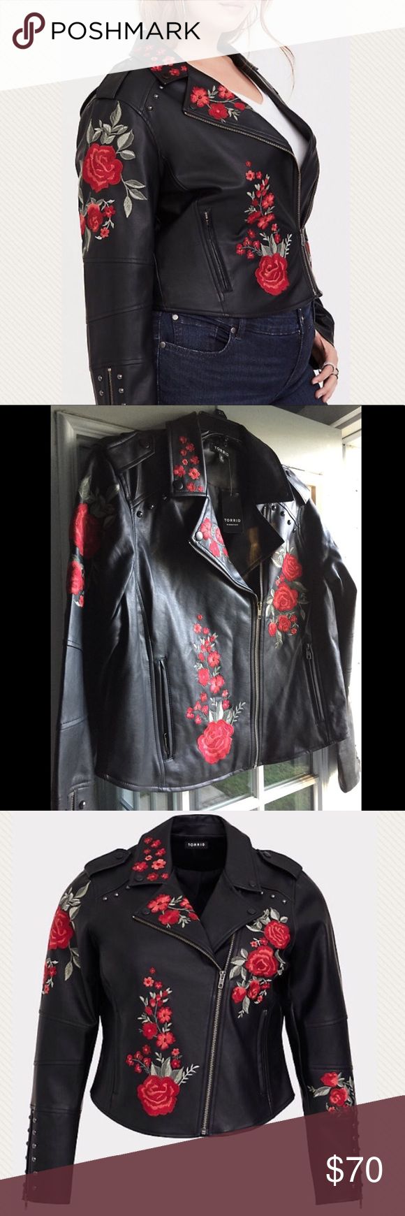 781e54f9ceceb 🌹TORRID 1 Black Red Roses 🌹 Leather Moto Jacket Gorgeous Fitted    Flattering Black faux