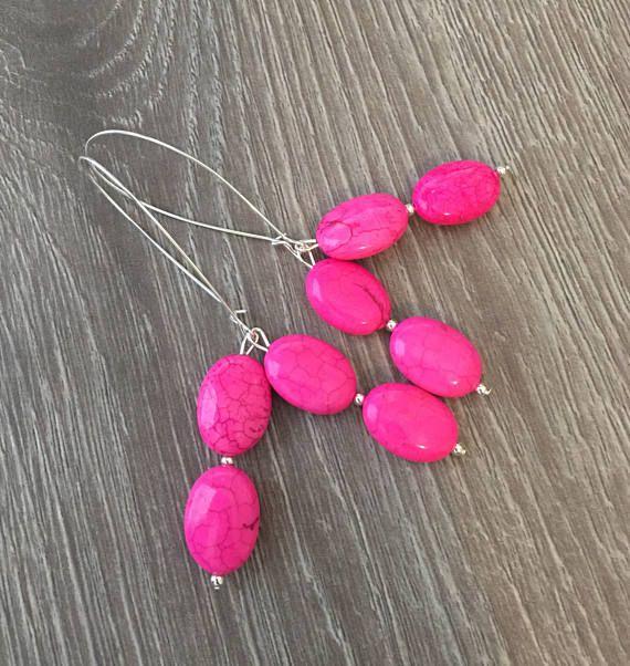 Long Dangle Earrings Neon Earrings Neon Pink Spike Earrings Neon Pink Hypoallergenic Earrings Neon Pink Dangle Earrings
