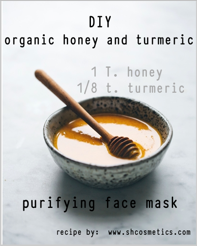 Organic Honey and tumeric face mask  For-radiant skin, to detox and heal blemishes Honey, my friends is amazing.  Purifying and great for detox.  Mixi a table spoon of honey with 1/8 of a teaspoon of turmeric.   Disinfecting and anti-inflammatory. Leave on for twenty minutes, interesting because it does have a slight heating sensation, which is the purifying properties at work.  After a mask skin is so radiant, and it heals blemishes super-quick, too! Bonus!