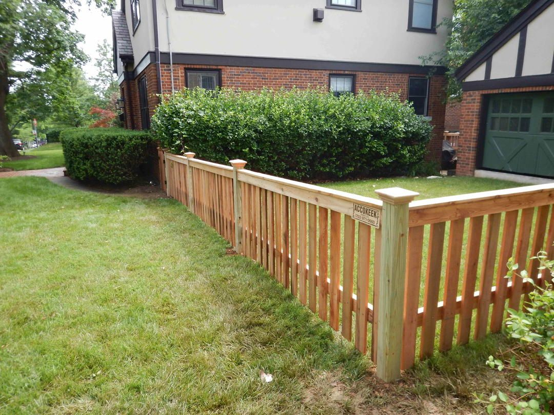 8 cedar 1x4 spaced picket flat top fencing pinterest spaces a cedar fence with a flat top beautifully encloses this backyard space baanklon Gallery