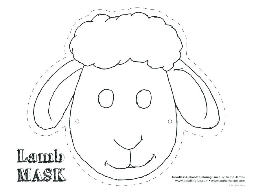 Printable Sheep Mask Template Con More Captivating The Large Size Pattern