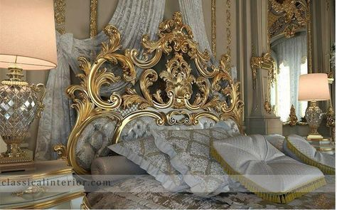 Royal Gold Bedroom Set Carved With King Size Bed - Top and Best ...