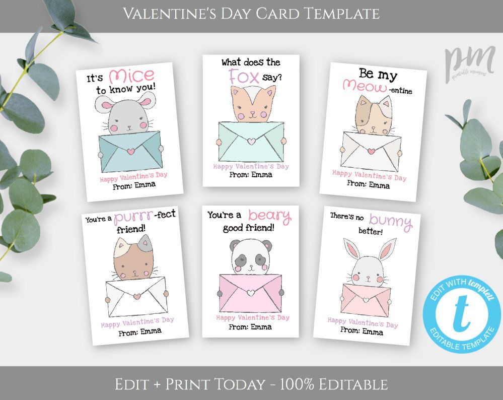 Animal Valentines Day Card Template Cat Valentines Cards For Etsy Valentines Day Card Templates Valentine S Cards For Kids Valentines Cards