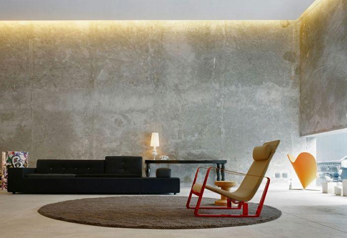 Ideen Für Wandgestaltung Wohnzimmer Beleuchtung Betonwände