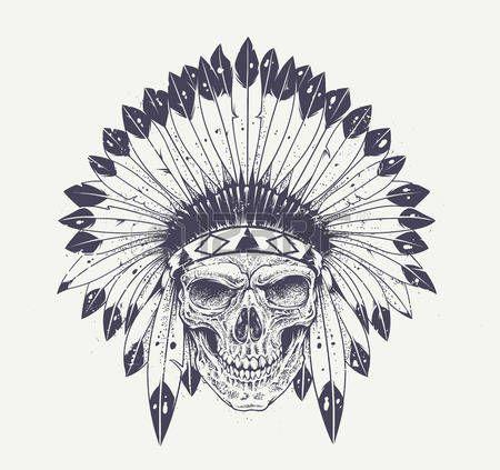 Tatouage le style dotwork cr ne avec un chapeau de plumes indien vecteur grunge art - Tatouage crane indien ...