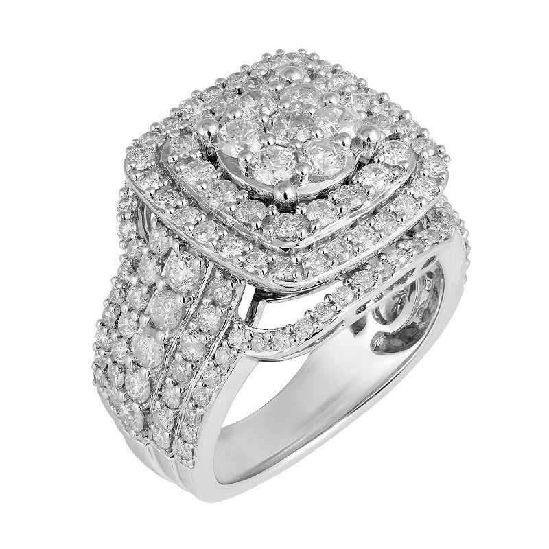 Womens 3 CT. T.W. Genuine Round White Diamond 10K Gold