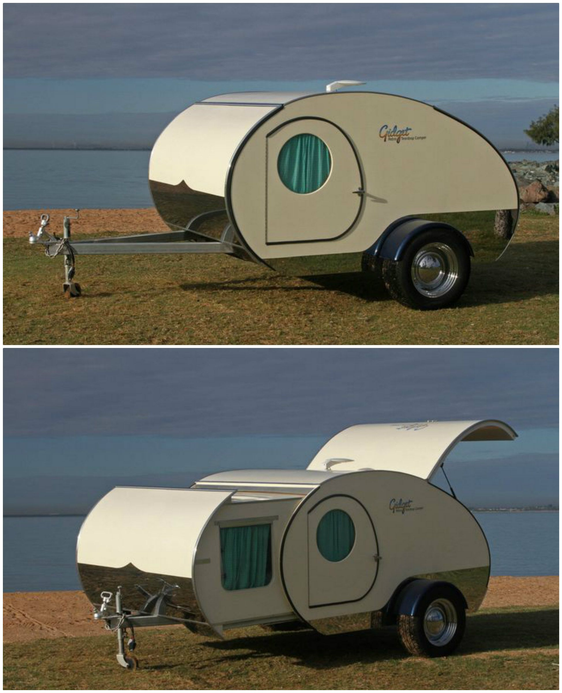 Posted in retro vintage tagged classic cars teardrop caravan vintage - The Gidget Retro Teardrop Camper Almost Doubles Its Size With A Simple Slide Out Action