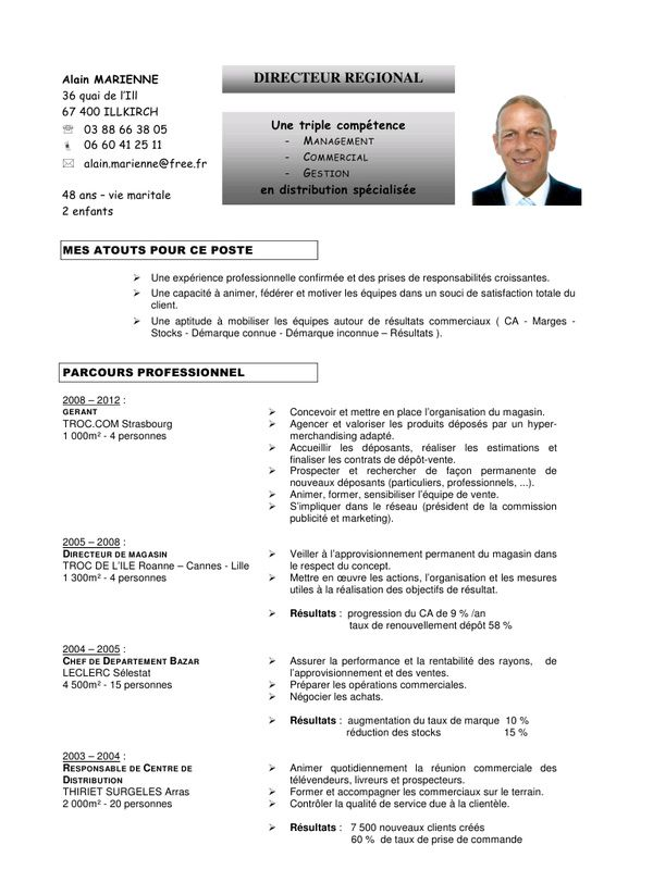 cv exemple responsable magasin