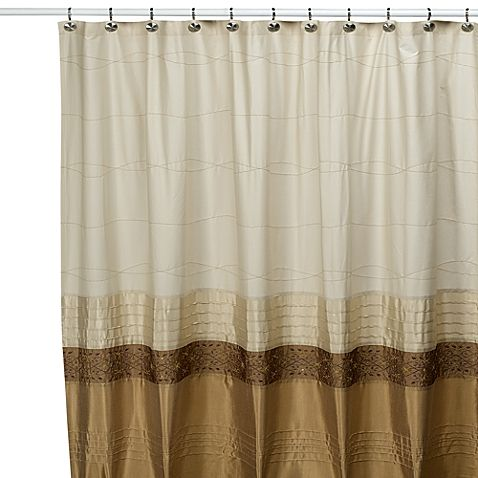 Eye Catching Shower Curtain Has Wide Bands Of Tonal Faux Silk And Cotton That Are