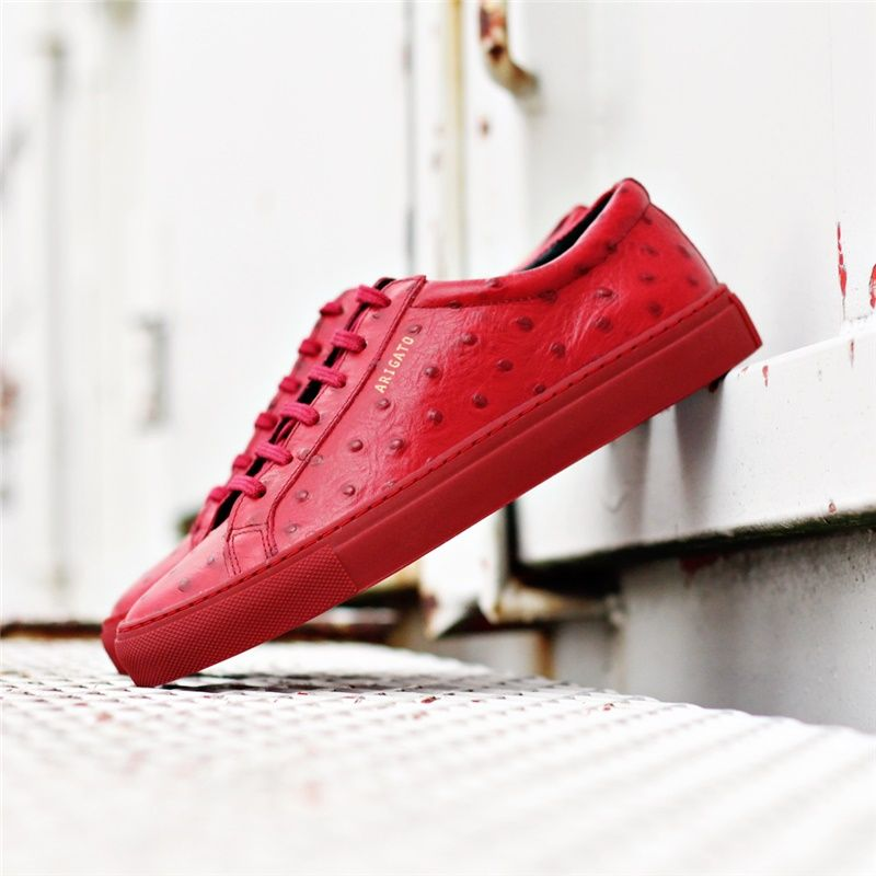 Axel Arigato red ostrich embossed leather sneaker, handmade in Portugal #shoelover