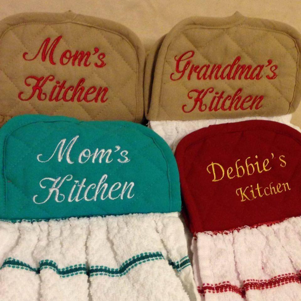 Embroidered Dish Towel Pot Holder Topper Design Kitchen Towel