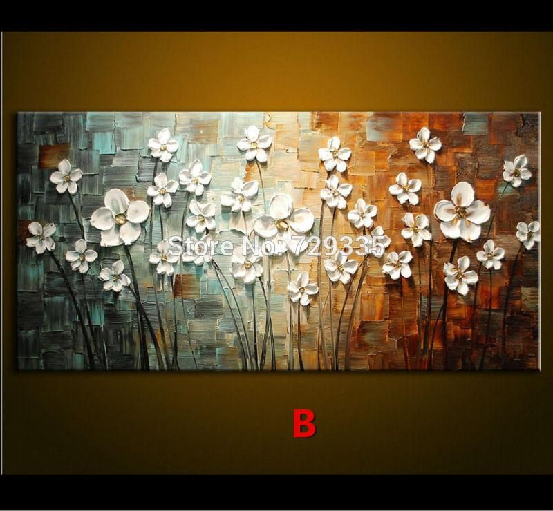 Oil Painting Palette Knife Thick Paint White Flowers Painting Modern Home Canvas Wall Living