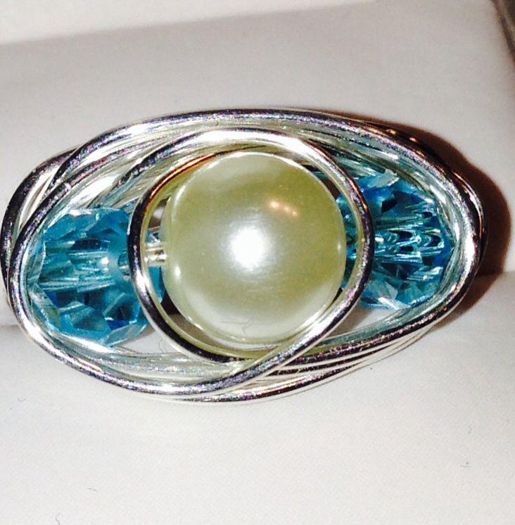 Pearl and Aquamarine wrap ring
