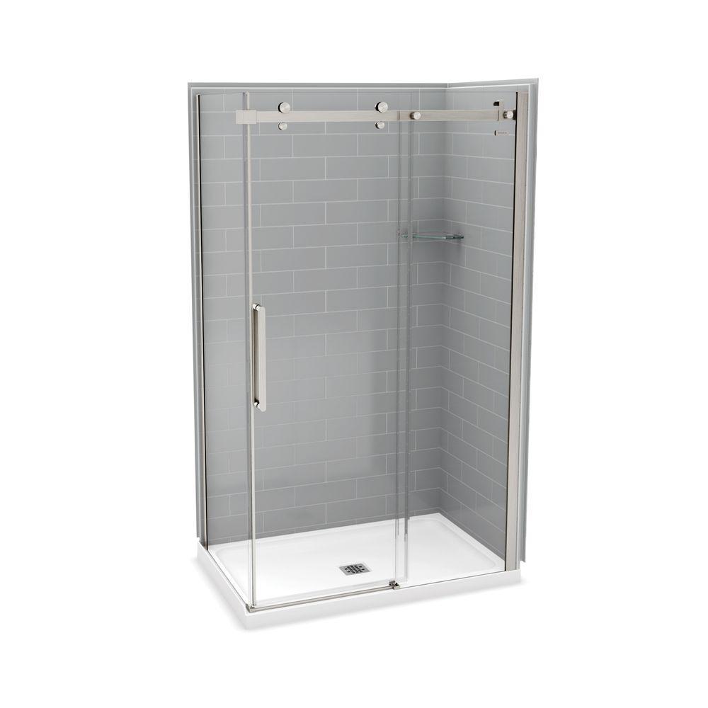 Utile by MAAX 32 in. x 48 in. x 83.5 in. Corner Shower Kit in Metro